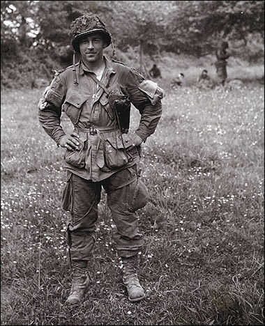 forrest guth world war ii soldier posing full uniform in field