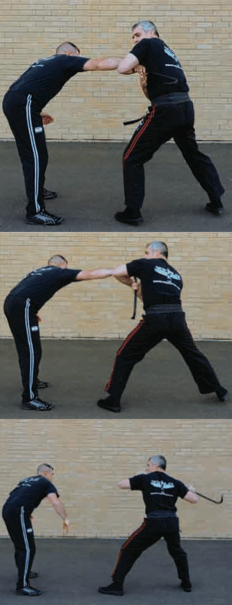 The most popular method to remove the impact weapon is to use a 180-degree step (tsai-bake) with your right foot to break or rip the impact weapon away from his hand without taking your eyes off the assailant.