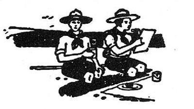 boy scouts vintage illustration dining eating in camp trench