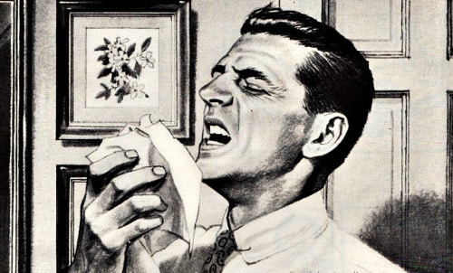vintage illustration man sneezing into handerkerchief kleenex