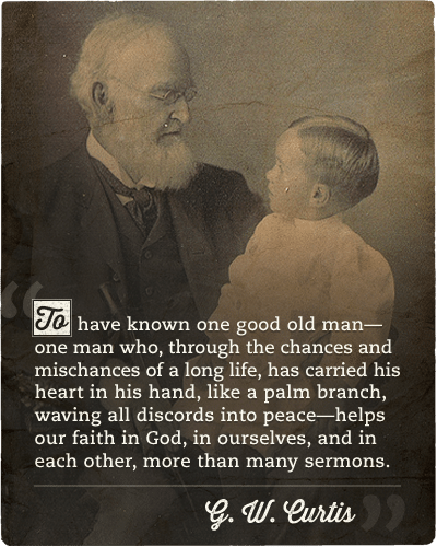 Quote about recognition of good old man by G.W.Curtis.