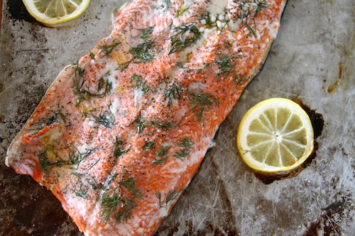 Roasted Salmon Filet with lemons