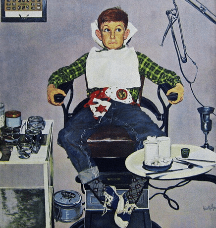 vintage boy at dentist illustration