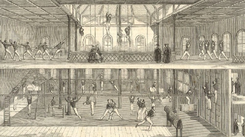 Vintage gym gymnasium illustration.