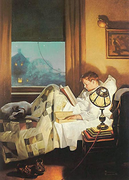 vintage illustration boy reading book in bed