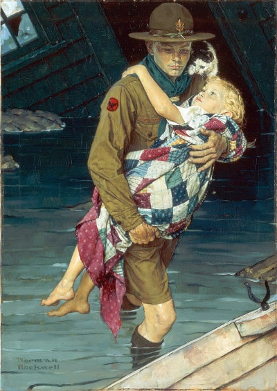 vintage illustration boy scout young man saving young girl from drowning