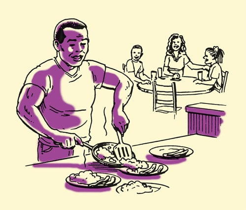 dad making dinner for family illustration