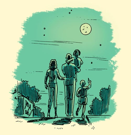 family on nighttime walk looking at full moon illustration