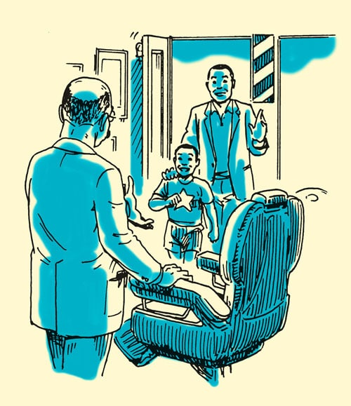 dad taking son to barbershop illustration