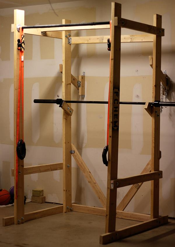 diy wooden power weightlifting rack garage gym