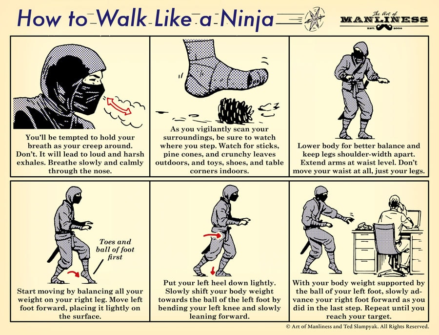 How to Walk Like a Ninja: An Illustrated Guide | The Art of Manliness