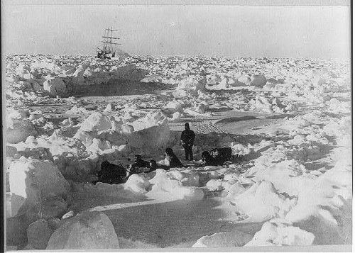shackleton antarctic expedition men exploring ice away from ship
