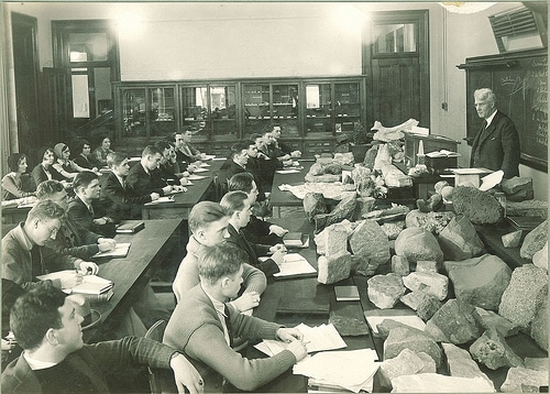 vintage college classroom geology class rocks in front