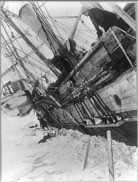 old wooden ship stuck in ice antarctic expedition