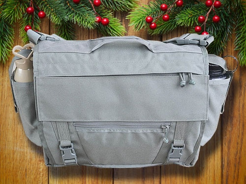 ITS tactical discreet messenger bag with christmas background.