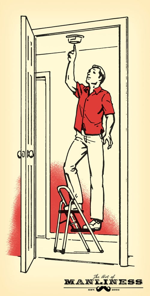 man on step ladder checking smoke fire alarm illustration