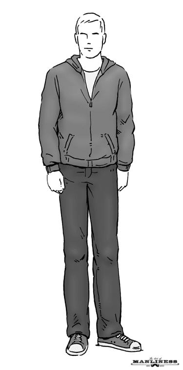 man in jeans and zip up hoodie sweatshirt illustration