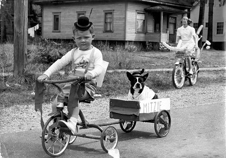 vintage young boy riding tricycle with dog in wagon