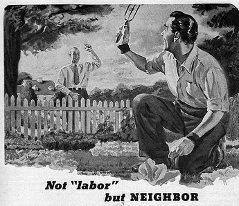 vintage neighbor illustration not labor but neighbor