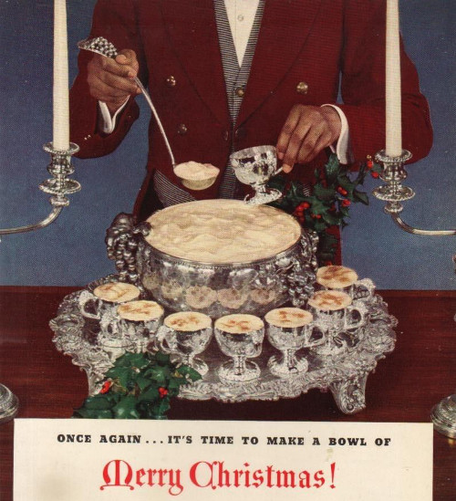 Vintage holiday christmas ad advertisement egg nog.