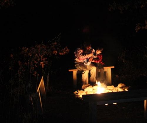 Vintage backyard campfire.