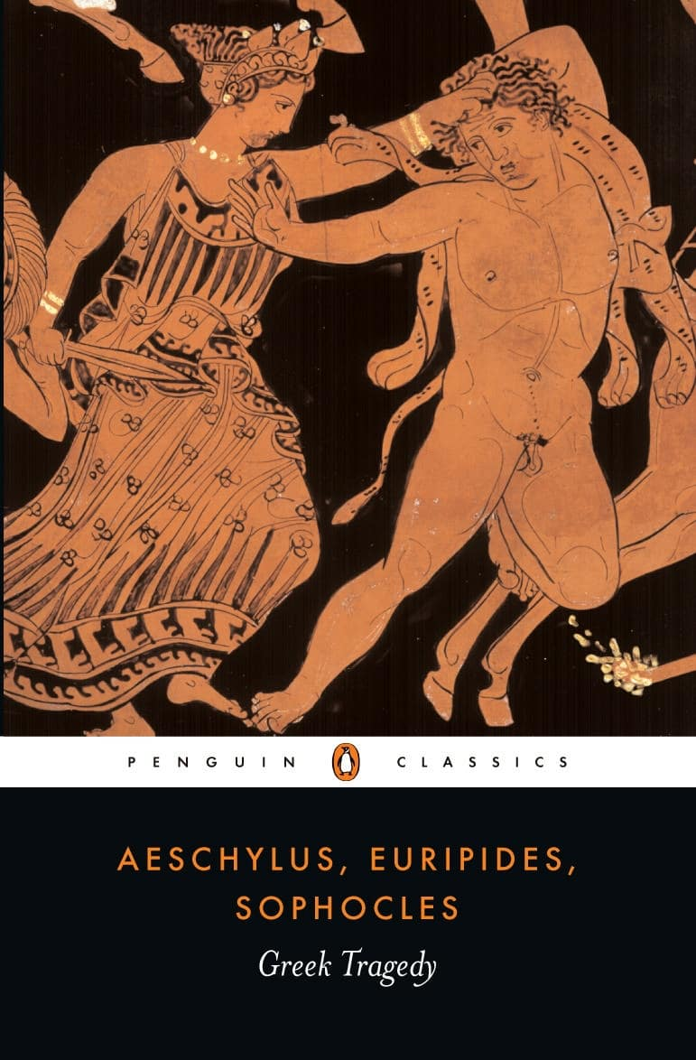 Greek tragedy by aeschylus, euripides, and sophocles, book cover.