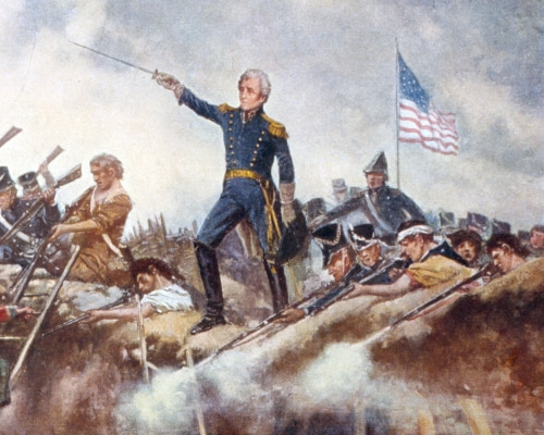 andrew jackson battle painting leading men sword in air