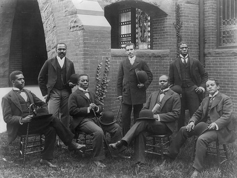 vintage african american black men posing for photo outdoors tuxedos