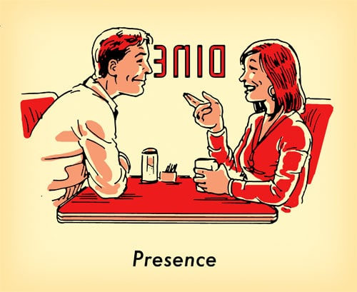 man woman together at old school diner illustration