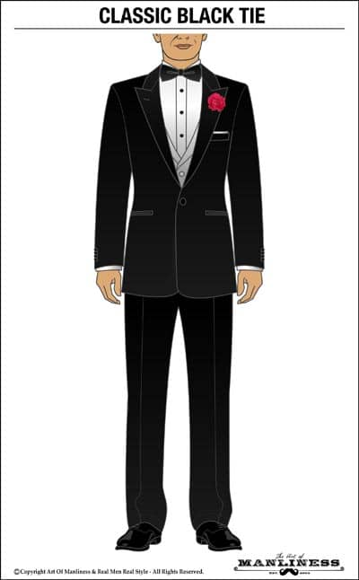 Classic black tie tuxedo illustration.