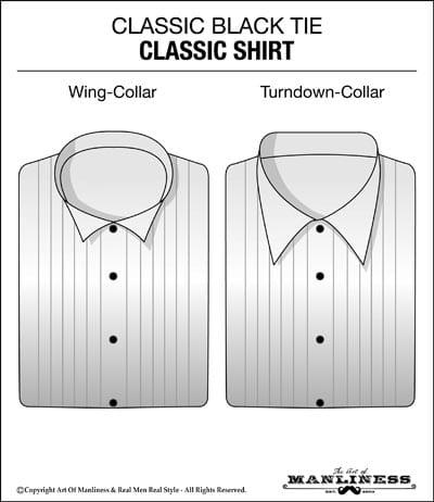 classic black tie white tuxedo shirt
