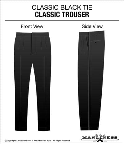 Classic black tie trousers pants.