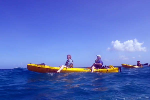 tandem (double sit-on-top) kayak, Na Pali Coast, Kauai.
