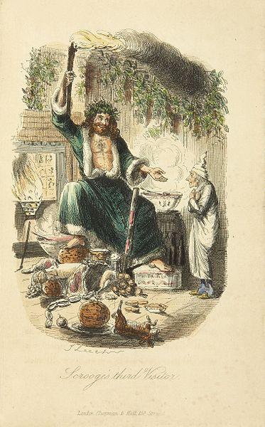 ebenezer scrooge meeting ghosts painting illustration