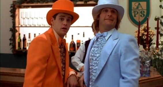Harry and Lloyd in Dumb and Dumber blue and orange tux