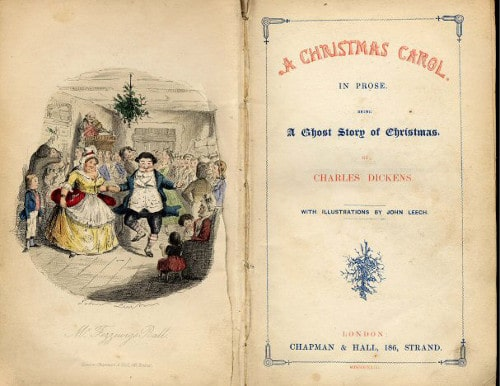 a christmas carol book cover early edition bookplate