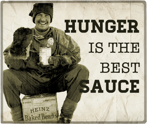 Hunger is the best sauce aphorism.