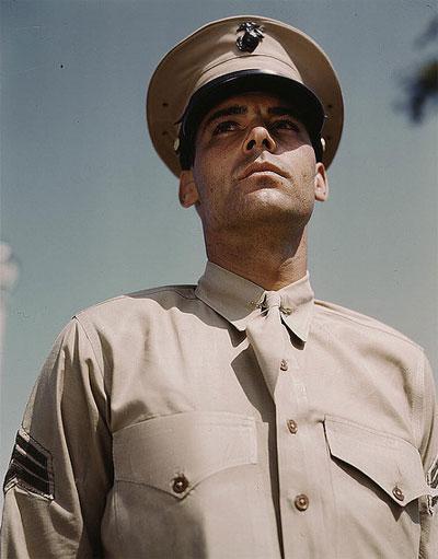Vintage marine sergeant in uniform beige dress.