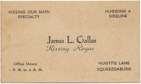 Vintage 19th century 1800s calling card for James L. callas.