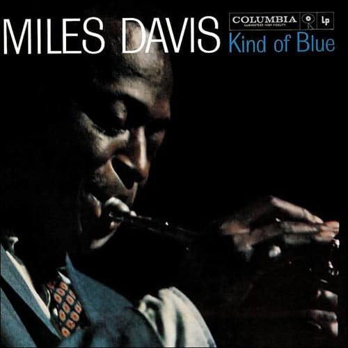 Miles Davis kind of blue jazz album cover.