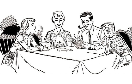 vintage 1950s family meeting at dinner table black white illustration