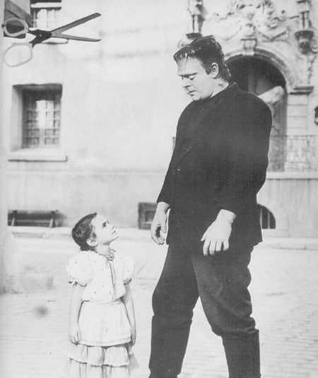Vintage man frank with child.