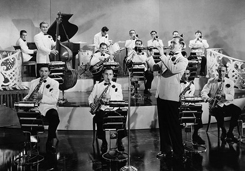 Benny Goodman orchestra jazz band on stage.