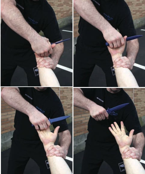 View of removing the knife from his hand.