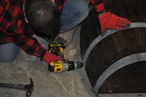 Whiskey barrel furniture ideas.