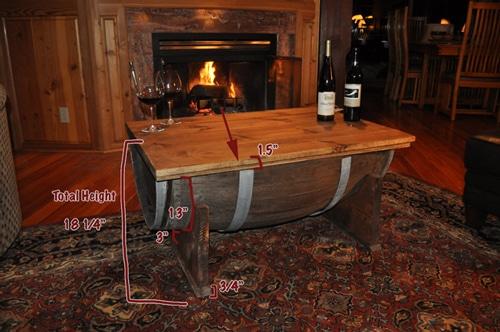 Whiskey barrel table plans.