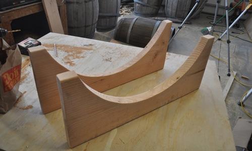 Whiskey barrel table legs.