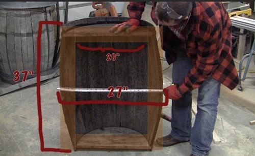 Whiskey barrel table.