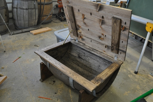 Whiskey barrel chest lid support.