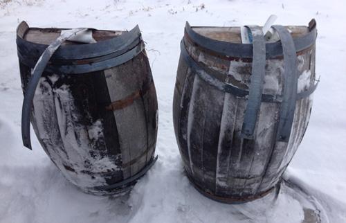 Whiskey barrel cut in half for craft diy project.
